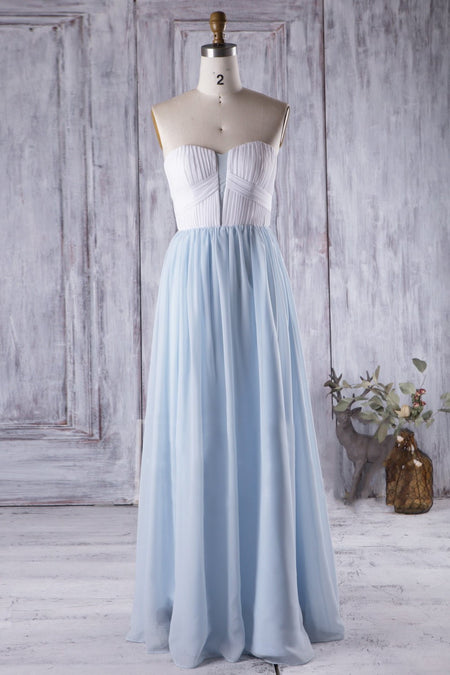 Two Tone Lace and Tulle Long Bridesmaid Dresses Custom Made