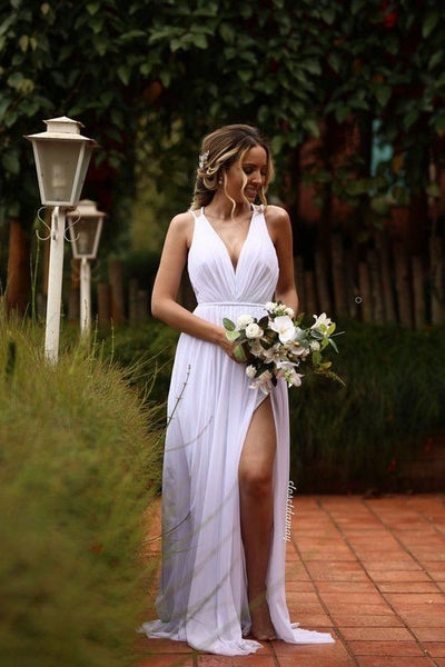 white-chiffon-summer-wedding-gown-with-strappy-back