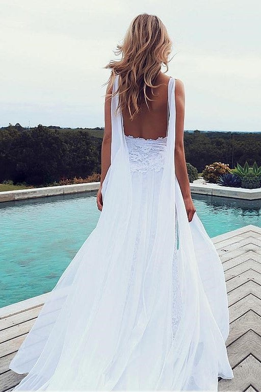 white-lace-beach-wedding-dresses-with-chiffon-ribbons-1