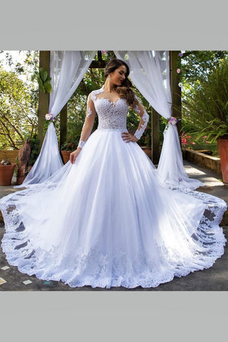 White Lace Long Sleeve Wedding Dresses With Royal Train