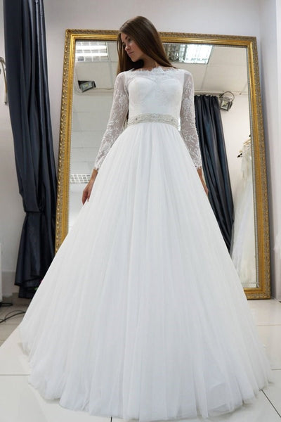 white-lace-long-sleeves-wedding-dress-tulle-skirt