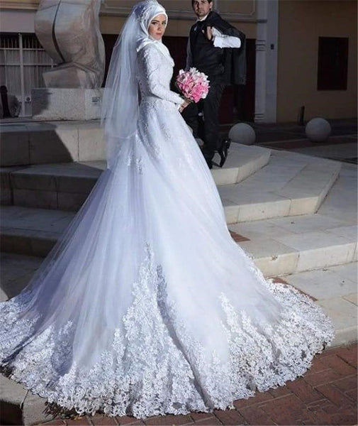 955ac944ad271 White Lace Muslim Wedding Dresses with Long Sleeves – loveangeldress