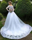 white-lace-tulle-wedding-gown-off-the-shoulder-long-sleeves