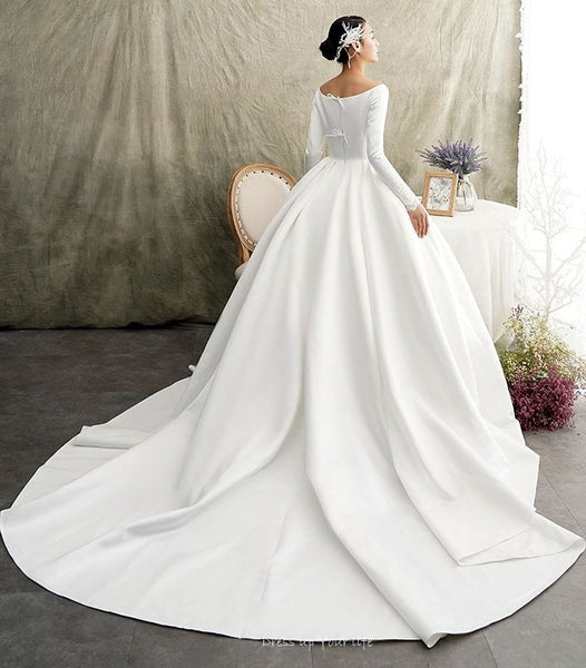 white-satin-ball-gown-wedding-dress-long-sleeve-wide-neckline-1