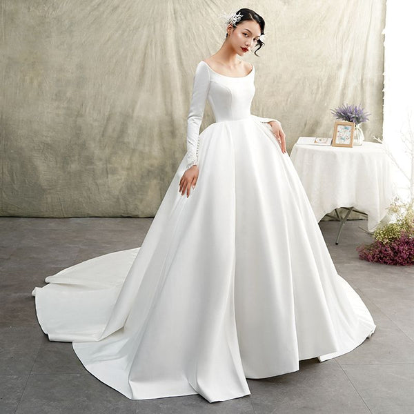 white-satin-ball-gown-wedding-dress-long-sleeve-wide-neckline-2