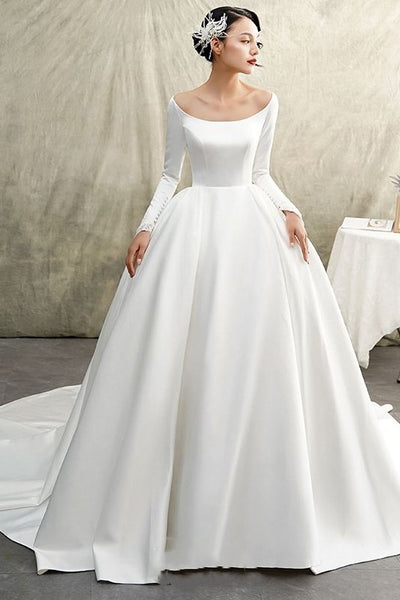 white-satin-ball-gown-wedding-dress-long-sleeve-wide-neckline