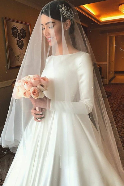 49da3ab33a White Satin Modest Wedding Dresses with Long Sleeves