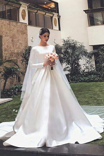 Wedding Dress With Sleeves.White Satin Modest Wedding Dresses With Long Sleeves