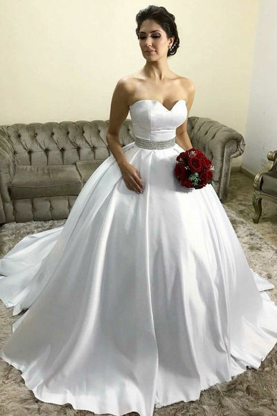 white-satin-wedding-ball-gown-dresses-with-rhinestones-belt