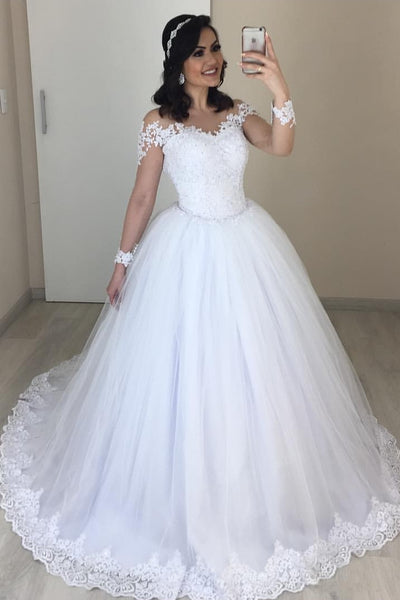white-tulle-lace-wedding-dresses-with-sleeves-2020-new-in