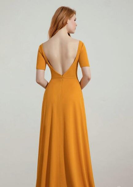 Yellow Bridesmaid Wedding Guest Dress with Short Sleeves