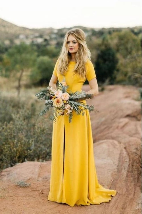 yellow-bridesmaid-wedding-guest-dress-with-short-sleeves