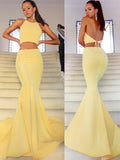 yellow-satin-mermaid-prom-gowns-two-pieces