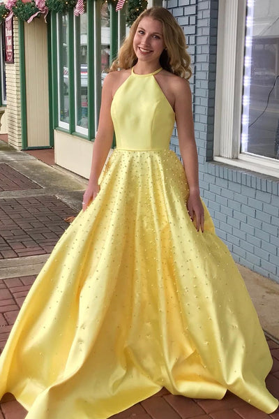 yellow-satin-pearls-prom-dresses-with-halter-neckline