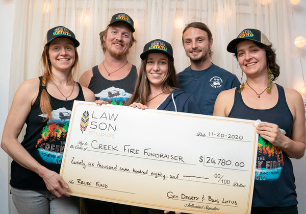 Creek Fire Fundraising Team Holding Check for $26,780