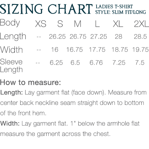 Sizing Chart Ladies T Slim Long Fit