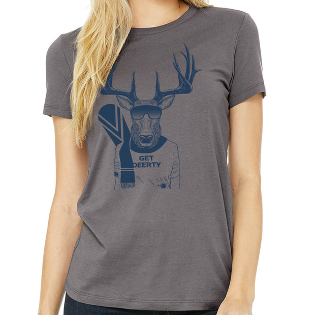 Get Deerty Snow Boarder Ladies T-Shirt