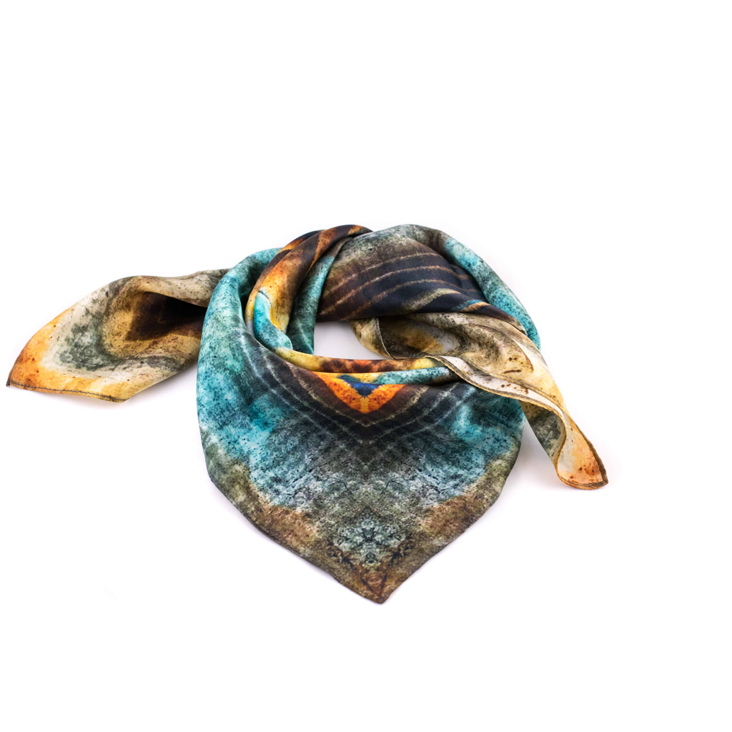 Human Scarf Orange Meets Blue In The Midnight 100% Silk by unintended.