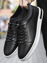 Load image into Gallery viewer, Men Lace Up Low Top Black Casual Sneakers