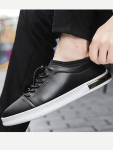 Men Lace Up Low Top Black Casual Sneakers
