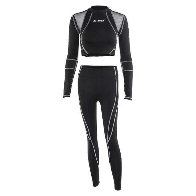 OVESPORT Casual Push Up Leggings & Long Sleeve Suit