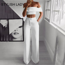 Load image into Gallery viewer, STYLISH Lady Neon Green 2 Piece Set Women Solid Off the Shoulder Crop Top and Wide Leg Pants 2019 Sexy Summer Two Piece Outfits
