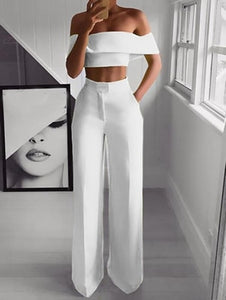STYLISH Lady Neon Green 2 Piece Set Women Solid Off the Shoulder Crop Top and Wide Leg Pants 2019 Sexy Summer Two Piece Outfits