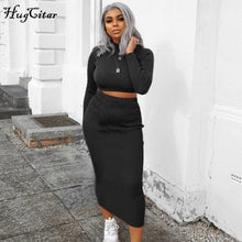 Load image into Gallery viewer, Hugcitar high neck long sleeve crop tops skirt two piece set