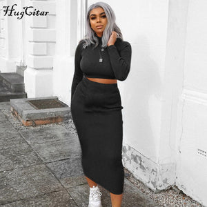 Hugcitar high neck long sleeve crop tops skirt two piece set