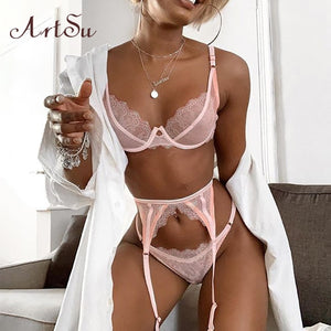 ArtSu Straps Pink Lace Bra And Panty Set