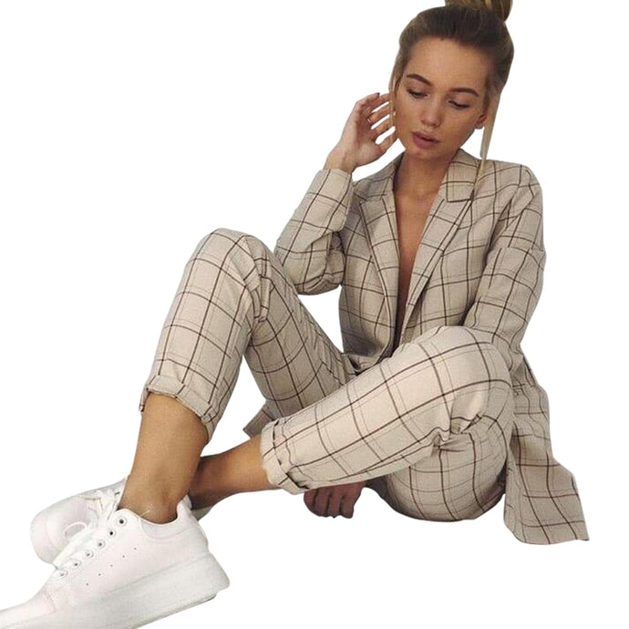 Plaid Long Sleeve Blazer Pants Set