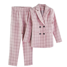 Load image into Gallery viewer, Plaid Long Sleeve Blazer Pants Set