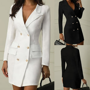 Double Breasted Button Front Blazer