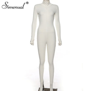 Simenual Workout Active Wear Ribbed  Jumpsuit