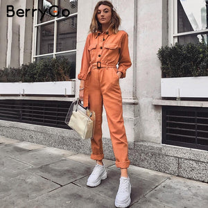 cargo cotton jumpsuit with sash belt