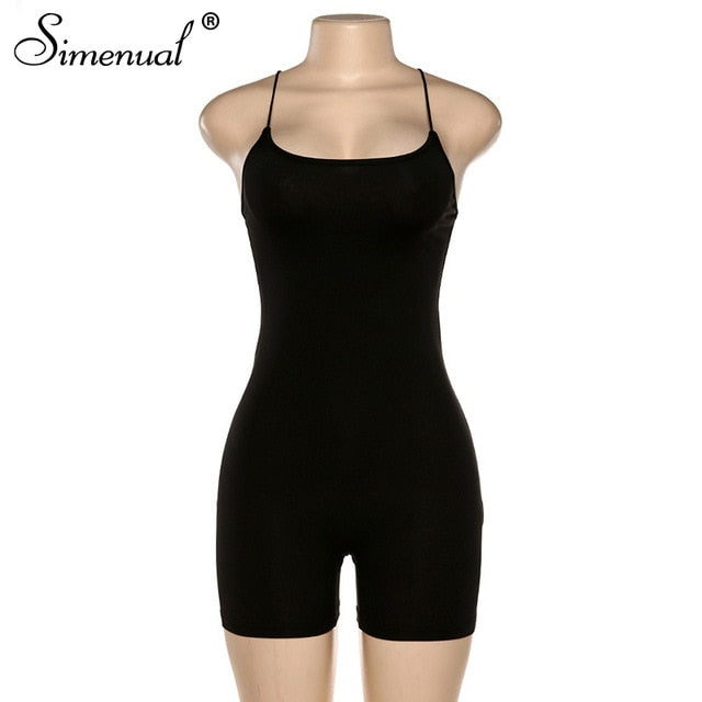 Simenual Sporty Casual Strap Rompers Jumpsuit