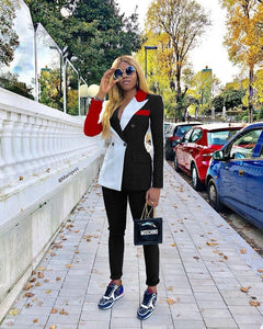 Colorblock Notched Collar Double-breasted Blazer & Pants Set