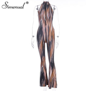 Simenual Tie Dye Sexy Zipper Flare Pants Jumpsuit