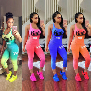 Gradient Letter Print Sportwear Sleeveless Tank Top Two Piece Set Pants Suit
