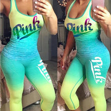 Load image into Gallery viewer, Gradient Letter Print Sportwear Sleeveless Tank Top Two Piece Set Pants Suit