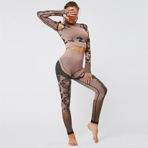 2PC Camo Workout Booty Fitness Leggings + Long Shirt Sport Suit