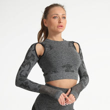 Load image into Gallery viewer, 2PC Camo Workout Booty Fitness Leggings + Long Shirt Sport Suit