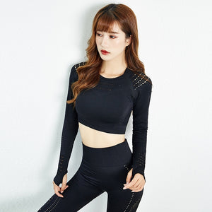 2 pc Sport Suit Fitness Crop Top And Scrunch Butt Leggings Set
