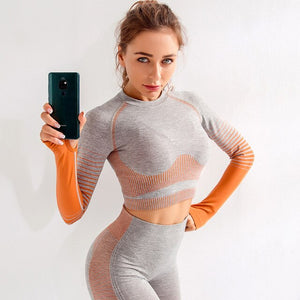 Seamless Fitness Leggings+Long Sleeve crop top Set