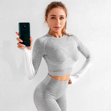 Load image into Gallery viewer, Seamless Fitness Leggings+Long Sleeve crop top Set