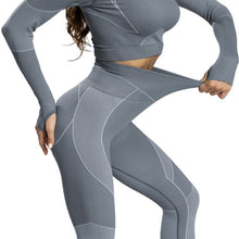 Load image into Gallery viewer, High Waist Leggings Workout Pants Stretchy Set