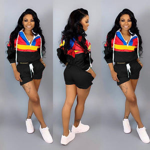 Zipper Up Patchwork  2 Piece Tracksuit