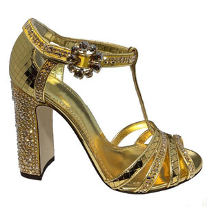Golden lattice mirror high-heeled sandals