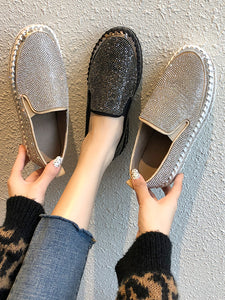 Rhinestone Flat Leather Loafers