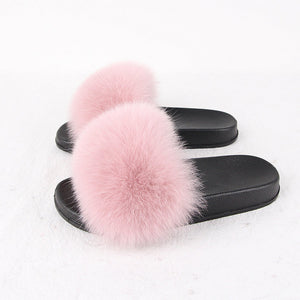 High quality fox fur slippers